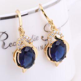 Wholesale Earring Women Lady Alternative Stylish Blue Hoop Popular Environmental Copper K Gold Plating Earring Jewelry Accessories ER0457 J L