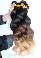 Brazilian Hair Body Wave Ombre Remy Hair Three Tone Ombre hair extensions 1b #4 27# three tone color Peruvian virgin hair body wave weft 3pcs lot free shipping hot sale 6A quality