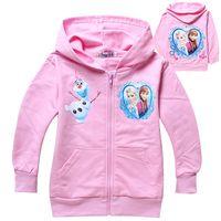 Wholesale New Baby Frozen Girl Anna Elsa Princess Hoodies Kids Sweater Color Children Autumn Long Sleeve Queen Cotton Coat Hooded Children Top