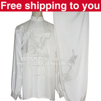 Wholesale Chinese Tai chi clothing taiji sword set exercise performance suit sliver dragon embroidery man woman children little boy girl