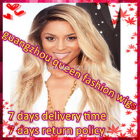 Natural Color Brazilian hair Loose Wave 2014 new!!!Indian Remy Two Tone Full Lace Wig Ombre Color #1b #613 Blonde Body wave Instock Free Shipping