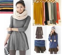 Casual Dresses korean - Fashion Europe and America Elegant Ladies Autumn Basic Dresses Korean Novelty Women Solid Color Long Sleeve Dress Colors G0271