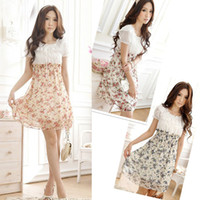 Casual Dresses ladies chiffon fashion dresses - PROMOTION Design Ladies Dresses Women Dress Floral Elastic Waist Chiffon Dress Fashion Flower Mini Dress G0174