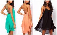 Casual Dresses ladies chiffon fashion dresses - Promotions New Fashion Women Backless Sling Strap Mini Dress Sleeveless Pure Color Chiffon Sexy Ladies Dress Party Beach Dress G0326