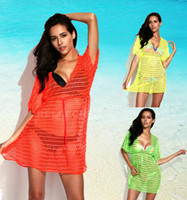 New Neon Crochet Tunic Beach Dress with Drawstring Waist Swi...