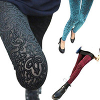 Wholesale S5Q New Women Sexy Leggings Floral Pleuche Hollow Pantynose Slim Tights Pants AAABSQ