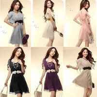 summer dresses for women - Fashion Women Summer Short Sleeve Sundresses tunics Casual Chiffon Dress Cocktail Mini Dress for women G0172