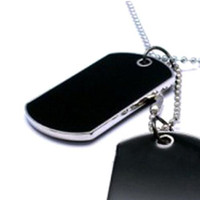 Wholesale S5Q Fashion Cool Army Style Cool Black Dog Tag Beauty Men Boy Pendant Necklace AAABSL