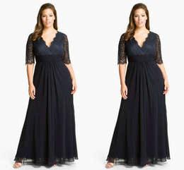 Wholesale 2014 Black Lace Chiffon Mother of The Bride Dresses Cheap Sale Under V Neck Sexy Sheer Half Long Sleeve Evening Party Gown