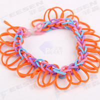 Wholesale DIY Rainbow Loom Rubber Bands Bracelet Ring Necklace Colored Clips C amp S