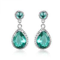 gemstone earrings - Wholeasle Russia Sterling Silver plated jewelry Green amethyst prasiolite gemstone crystal wedding earrings jewelry E0484