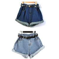 Wholesale S5Q Fashion Women Girl High Waisted Oversize Crimping Shorts Pants AAABLW