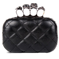 Women baguette handbags - S5Q Vintage Skull Knuckle Rings Handbag Clutch Evening Bag With shoulder Chain AAABMD