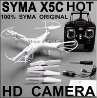 Wholesale RC Helicopter Syma X5C Quadcopter G Axis UFO Mega Pixel Drone With Camera and Degrees Helicopters Toy LED Quadcopter Free Shpping
