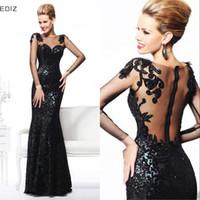 Wholesale 2016 Evening Gowns Tarik Ediz Bateau Sheer Neck Illusion Sleeves Sheer Back Sequins Floor Length Sexy Black Prom Dress Party Dress BTE