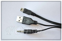 Wholesale 2 in aux cable aux USB to Mini Adapter Dual Plug Data Cable for Samsung Galaxy S3 Mp3 MP4 for HTC