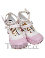 Wholesale 3 Heel Platform Pink And White Ankle Straps Buckle PU Lolita Shoes