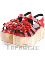 Wedge Spring and Fall Round Toes Red Bows Wedge Heel Open Toe PU Lolita Sandals Free Shipping