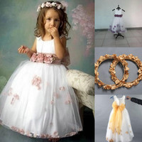 Wholesale 2015 Jewel Neckline Floral Bow Sash White Tulle Toddler Ball Gown Cheap Flower Girls Formal Dresses Sale Under with Free Gift Garland
