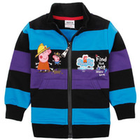 Boy Spring/Autumn Cardigan Boy's hat peppa pig, George zipper hoodie 2014 high quality terry jersey children black purple blue stripe coat cheap jacket