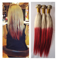 100g Brazilian Hair Ombre Color Free Shipping 100% Brazilian Virgin Human Hair Weft Weaves #613 Red 2 tone color ombre hair weft