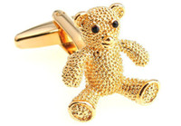 Wholesale Gold Teddy bear cufflink animal novelty design men shirt pari