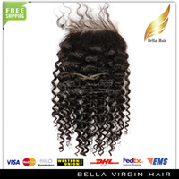 Wholesale Hair Closures quot quot Kinky Curly Weave Top Closures x4 Virgin Malaysian Hair Pieces Lace Closure Remy Human Hair Bellahair