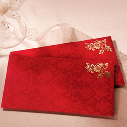 Wholesale Classic Chinese Red Envelope With Embossed Golden Flower For Wedding Supplies Gifts Collections