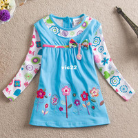 Girl Spring / Autumn Children Retail,new summer dress 2014 kids baby girls dress embroidered flowers girls t-shirts peppa pig girls clothing children t shirts
