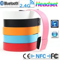TOP qualità Bluetooth NFC 2.4G Wireless v 3.0 EDR 2CH Stero cuffia Audio cuffia stereo con microfono per iPad iPhone Smartphone V646