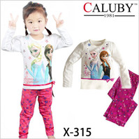 Wholesale 2pcs girls cotton FROZEN pajamas children princess cartoon long sleeve T shirts pants set underwear kids clothing garment gmy
