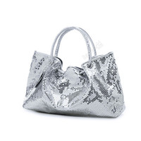 Wholesale New Womens Pu Leather Spangle Tote Sequin Decorative Shoulder Bag Party Handbag bx75