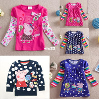 Girl Spring / Autumn Yes 5Pcs lots peppa pig baby girls New spring 2014 casual fashion tunic top peppa pig embroidery for girl long sleeve t-shirts