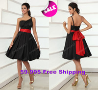 red and black bridesmaid dresses - 2014 Taffeta Little Black And Wine Red Sash Short Bridesmaid Dresses Knee Length Cocktail Bachelorette Beach Party Prom Gowns Under Sale