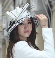 Wholesale Women Hats Satin Dress Hat Church Hat Satin Ribbons Big Brim Smooth Dome Design Ladies Polyester Made White Elegant