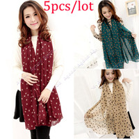 Wholesale 5pcs new Fashion Women Lady Dots Spot Chiffon Soft Shawl Scarf Neck Wrap Headscarf Colors