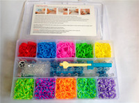 Wholesale 3000pcs rubber band of S clip hook of nice pendant loom Rainbow Loom Kit DIY Wrist Bands Bracelet clear plastic box