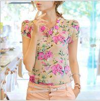 Short Sleeve Chiffon  Nice floral print chiffon blouse women new casual short-sleeve slim ladies Tshirt blouse top 3 colors M L XL XXL