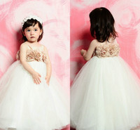 Wholesale New Arrival Custom Made Satin And Tulle Romantic Flowers Champagne And White Tutu Infant Baby Flower Girls Dresses Cheap Under