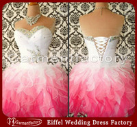 Reference Images Sweetheart Organza Pink and White Short Prom Dresses 2014 Hot Sales Sweetheart Neckline Colorful Rhinestones Ruffles Mini Skirt Corset Homecoming Dresses