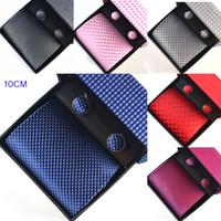Wholesale Mens CM Necktie Ties Sets Plaid Formal Ties Cufflinks Pocket square Gift Box Sets Men Accessories