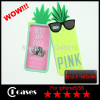 Wholesale Lovely Pineapple Shape Soft Silicone Protective Case Cover for iPhone S Piece Only