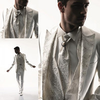 Wholesale 2014 New Fashion Trend Custom Made Lace Design Men s Suit Bridal Groom Suits Tuxedo Jacket Pants Vest BowTie Handsome Custom Made New N