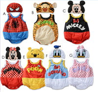 Wholesale 2014 summer baby Romper crawling clothing Mickey Minnie Pooh Spiderman modeling Romper baby climbing clothes Cotton Romper