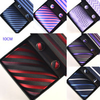 Wholesale Mens CM Necktie Ties Sets Stripe Formal Ties Cufflinks Pocket square Gift Box Sets Men Accessories