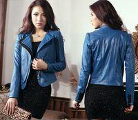 women black short leather jacket - PU Leather Laple Zipper Short Jacket Coat High Street Europe Style Blue Roseo Black Slim Leather Sleeve Brand Women Blazer Suits