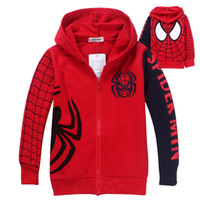 Wholesale 2014 New Baby Boy Spider Man Hoodies Kids Zipper Jacket Sweater Children Autumn Long Sleeve Coat Hooded Children Top Clothes DG GD83066