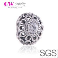 Wholesale Floral Brilliance with Clear CZ stone floral Charm made of sterling silver fit European bracelets No LW365