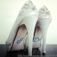 Wholesale I DO Blue Diamante Crystal Bridal Wedding Shoe Decoration Sticker