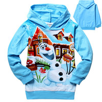 Wholesale 2014 New Autumn Baby Frozen Olaf Hoodies Kids Sweater Hoodies Color Top Cotton T shirt Fashion Children Long Sleeve Clothes DG GD709